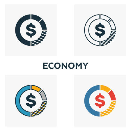 Economy icon set. Four elements in diferent styles from business management icons collection. Creative economy icons filled, outline, colored and flat symbols.