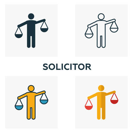 Solicitor icon set. Four elements in diferent styles from business management icons collection. Creative solicitor icons filled, outline, colored and flat symbols.