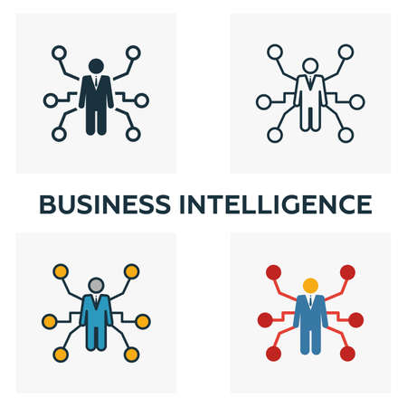 Business Intelligence icon set. Four elements in diferent styles from business management icons collection. Creative business intelligence icons filled, outline, colored and flat symbols.