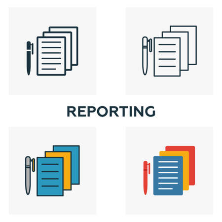 Reporting icon set. Four elements in diferent styles from business management icons collection. Creative reporting icons filled, outline, colored and flat symbols. Иллюстрация