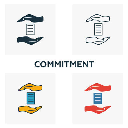 Commitment icon set. Four elements in diferent styles from business management icons collection. Creative commitment icons filled, outline, colored and flat symbols.