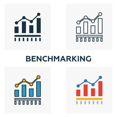 Benchmarking icon set. Four elements in diferent styles from business management icons collection. Creative benchmarking icons filled, outline, colored and flat symbols.