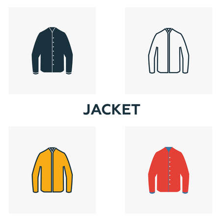 Jacket icon set. Four elements in diferent styles from clothes icons collection. Creative jacket icons filled, outline, colored and flat symbols.