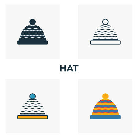 Hat icon set. Four elements in diferent styles from clothes icons collection. Creative hat icons filled, outline, colored and flat symbols. Иллюстрация