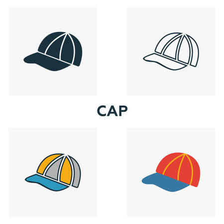 Cap icon set. Four elements in diferent styles from clothes icons collection. Creative cap icons filled, outline, colored and flat symbols.