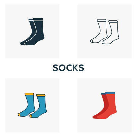 Socks icon set. Four elements in diferent styles from clothes icons collection. Creative socks icons filled, outline, colored and flat symbols.