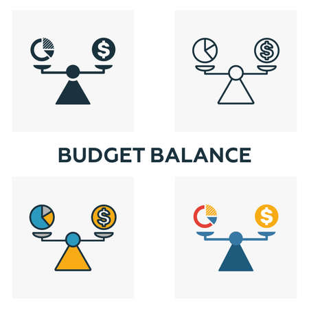 Budget Balance icon set. Four elements in diferent styles from business management icons collection. Creative budget balance icons filled, outline, colored and flat symbols. Иллюстрация