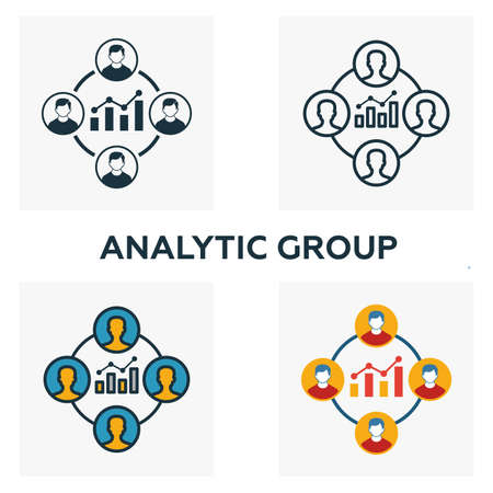 Analytic Group icon set. Four elements in diferent styles from business management icons collection. Creative analytic group icons filled, outline, colored and flat symbols.