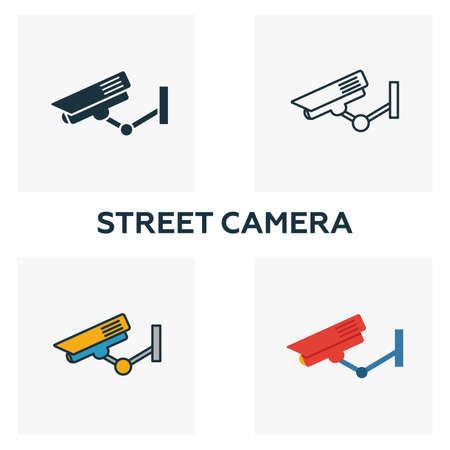 Street Camera outline icon. Thin style design from city elements icons collection. Pixel perfect symbol of street camera icon. Web design, apps, software, print usage.  イラスト・ベクター素材