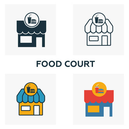 Food Court outline icon. Thin style design from city elements icons collection. Pixel perfect symbol of food court icon. Web design, apps, software, print usage.