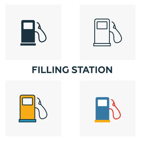 Filling Station outline icon. Thin style design from city elements icons collection. Pixel perfect symbol of filling station icon. Web design, apps, software, print usage.  イラスト・ベクター素材