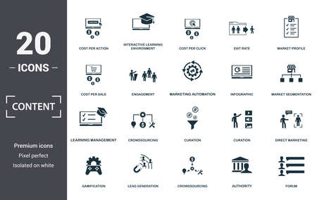 Content icon set. Contain filled flat cost per action, cost per sale, crowdsourcing, curation, engagement, forum, infographic icons. Editable format.