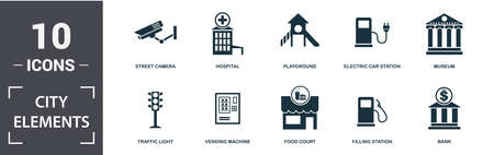 City Elements icon set. Contain filled flat vending machine, bicycle parking, filling station, playground, museum, leisure park icons. Editable format.