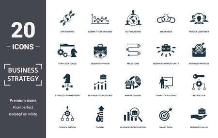 Business Strategy icon set. Contain filled flat business vision, business value, brand strategy, business conditions, competitive strategy, market share, strategy tools icons. Editable format.