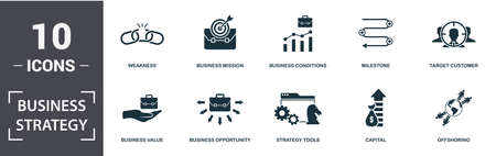 Business Strategy icon set. Contain filled flat business vision, business mission, business forecasting, conditions, market share, target customer, key factor icons. Editable format.