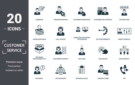 Customer Service icon set. Contain filled flat agent console, case priority, customer experience, customer self-service, helpdesk, knowledge base, software development kit icons. Editable format. Stockfoto