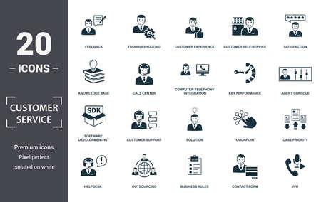 Jeu d'icônes de service client. Contient une console d'agent à plat remplie, une priorité de cas, une expérience client, un libre-service client, un service d'assistance, une base de connaissances, des icônes de kit de développement logiciel. Format modifiable.