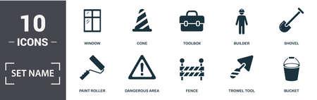 Construction Tools icon set. Contain filled flat bucket, paint roller, shovel, cone, hammer, socket, crane, vernier caliper icons. Editable format.