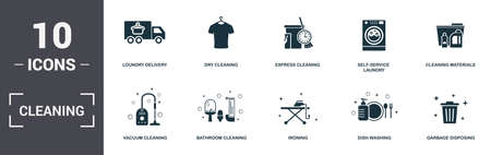 Cleaning set icons collection. Includes simple elements such as Loundry Delivery, Dry Cleaning, Express, Self-Service Laundry, Cleaning Materials, Bathroom Cleaning and Ironing premium icons. Фото со стока
