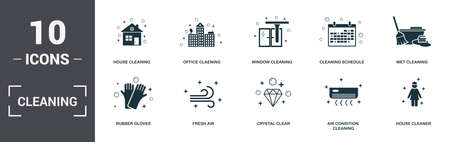 Cleaning set icons collection. Includes simple elements such as House Cleaning, Office Cleaning, Window, Cleaning Schedule, Wet, Fresh Air and Crystal Clear premium icons.