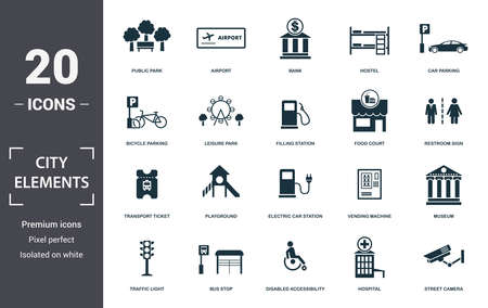 City Elements icon set. Contain filled flat disabled accessibility, traffic light, bicycle parking, car parking, filling station, street camera, hospital icons. Editable format. Фото со стока