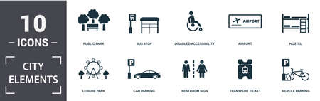 City Elements icon set. Contain filled flat disabled accessibility, public park, airport, car parking, street camera, food court, electric car station, transport ticket icons. Editable format.