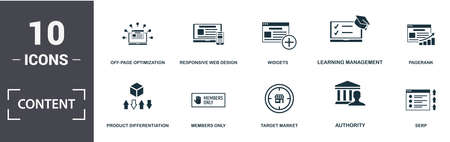 Content icon set. Contain filled flat offer, off-page optimization, private label rights, product differentiation, search engine marketing, search engine results page icons. Editable format.