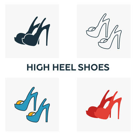 High Heel Shoes icon set. Four elements in diferent styles from clothes icons collection. Creative high heel shoes icons filled, outline, colored and flat symbols.