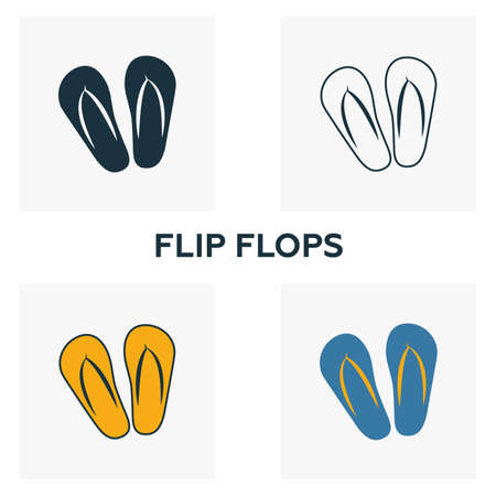 Flip Flops icon set. Four elements in diferent styles from clothes icons collection. Creative flip flops icons filled, outline, colored and flat symbols.