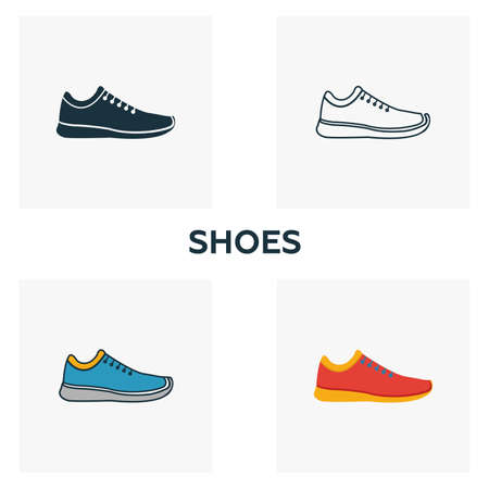 Shoes icon set. Four elements in diferent styles from clothes icons collection. Creative shoes icons filled, outline, colored and flat symbols.