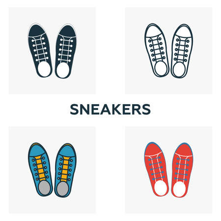 Sneakers icon set. Four elements in diferent styles from clothes icons collection. Creative sneakers icons filled, outline, colored and flat symbols.