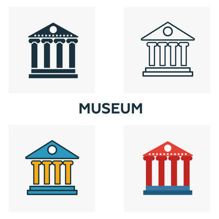 Museum outline icon. Thin style design from city elements icons collection. Pixel perfect symbol of museum icon. Web design, apps, software, print usage.