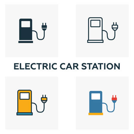 Electric Car Station outline icon. Thin style design from city elements icons collection. Pixel perfect symbol of electric car station icon. Web design, apps, software, print usage. Stock Photo