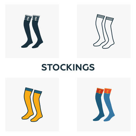 Stockings icon set. Four elements in diferent styles from clothes icons collection. Creative stockings icons filled, outline, colored and flat symbols.