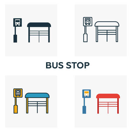 Bus Stop outline icon. Thin style design from city elements icons collection. Pixel perfect symbol of bus stop icon. Web design, apps, software, print usage. Фото со стока