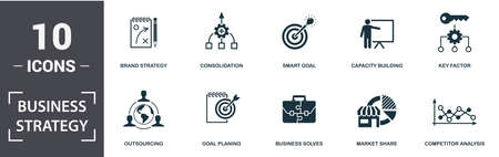 Business Strategy icon set. Contain filled flat business solves, brand strategy, competitive strategy, goal planing, competitor analysis, consolidation icons. Editable format. Фото со стока