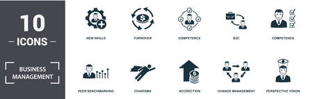 Business Management icon set. Contain filled flat achievement strategy, change management, peer benchmarking, accrection, roi, turnover icons. Editable format.