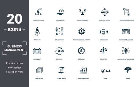 Business Management set icons collection. Includes simple elements such as Expert Opinion, Loan Money, Budget Balance, Analytic Group, Budget Accounting, Control and Economy premium icons.