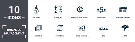 Business Management set icons collection. Includes simple elements such as Sponsor, Standpoint, Personal Development, Discussion, Schedule Planning, Commitment and Benchmarking premium icons. Imagens