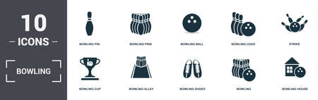 Bowling set icons collection. Includes simple elements such as Bowling Pin, Pins, Bowling Ball, Logo, Strike, and Popcorn premium icons.