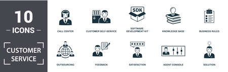 Customer Service icon set. Contain filled flat agent console, call center, satisfaction, customer self-service, knowledge base, outsourcing, solution, feedback icons. Editable format. 写真素材