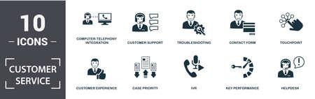 Conjunto de iconos de servicio al cliente. Contiene integración de telefonía y computadora plana completa, experiencia del cliente, servicio de asistencia técnica, desempeño clave, punto de contacto, íconos de solución de problemas. Formato editable.