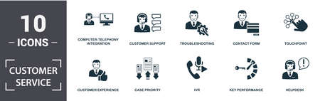 Customer Service icon set. Contain filled flat computer-telephony integration, customer experience, helpdesk, key performance, touchpoint, troubleshooting icons. Editable format.