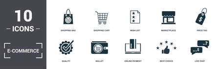 E-Commerce set icons collection. Includes simple elements such as Shopping Bag, Shopping Cart, Wish List, Marketplace, Price Tag, Wallet and Online Payment premium icons. Foto de archivo - 130071360
