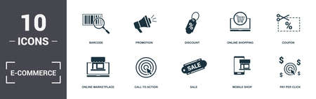 E-Commerce set icons collection. Includes simple elements such as Barcode, Promotion, Discount, Online Shopping, Coupon, Call To Action and Sale premium icons.