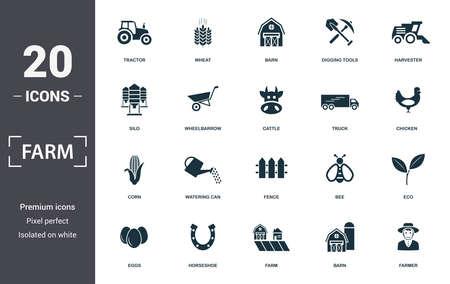 Farm icon set. Contain filled flat tractor, barn, harvester, wheelbarrow, truck, corn, fence icons. Editable format. Archivio Fotografico - 130071362