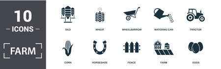 Farm icon set. Contain filled flat tractor, wheat, silo, wheelbarrow, corn, watering can, eggs, horseshoe icons. Editable format.