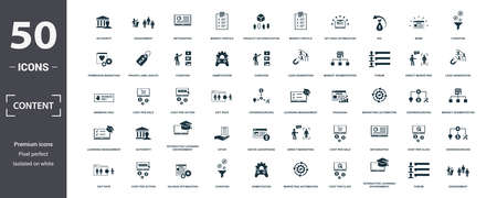 Content icon set. Contain filled flat viral marketing, media plan, social content, agile, content marketing, podcast, cost per action icons. Editable format. Фото со стока