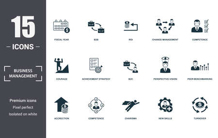 Business Management icon set. Contain filled flat charisma, competence, competence, achievement strategy, perspective vision, courage, new skills, accrection icons. Editable format.