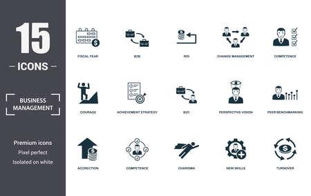 Zestaw ikon zarządzania przedsiębiorstwem. Zawierają wypełnioną płaską charyzmę, kompetencje, kompetencje, strategię osiągnięć, perspektywiczną wizję, odwagę, nowe umiejętności, ikony narastania. Edytowalny format.